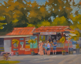 Hanalei - Hawaii - Sugar Shack - Cafe - Northshore - Kauai - Vacation - Restaurant - Healthfood - Plein Air - Oil Painting - Landscape