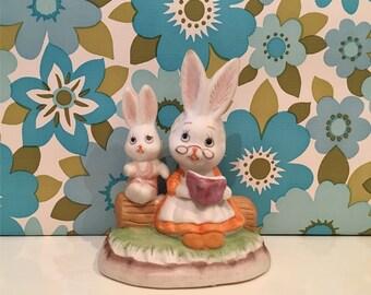 Vintage Kitsch Rabbits Reading Cute Bunny
