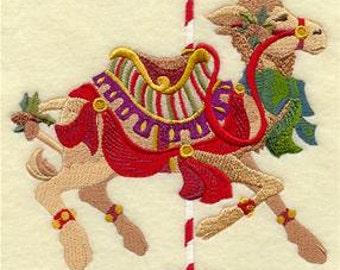 Carousel Christmas Camel Embroidered Towel | Flour Sack Towel | | Dish Towel | Kitchen Towel | Hand Towel | Holiday Towel