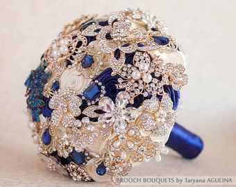 Brooch Bouquet, Wedding Bouquet, Bridal Bouquet, Ivory Gold Bouquet, Navy Blue Bouquet, Gold Wedding, Ivory Bouquet, Broach Bouquet Crystal