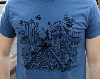 BLUE, LARGE- The Buzz About Bee-ham T-Shirt