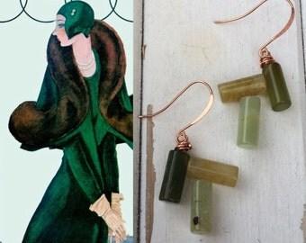 HANDMADE ART DECO Earrings Precious Stones