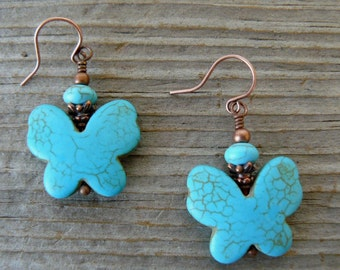 Butterfly Earrings, Turquoise Butterfly Dangles, Turquoise and Copper Boho Style, Southwestern Jewelry, Howlite Beads