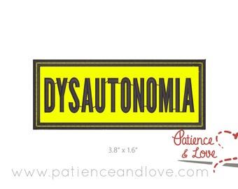 "Patch, Sew-on, 3.8 x 1.6"", Dysautonomia, customizable patch"