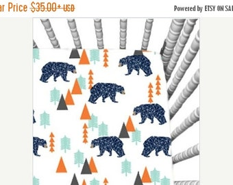 10% OFF FLASH SALE Nursery Items in Blue,Orange and Mint Bear modern fabric:Sheets,Changing covers.Item selection and pricing listed below u
