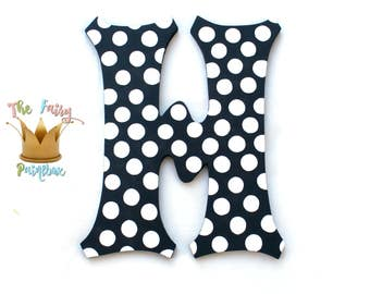 Black White Polka Dot Painted Letters, Polka Dot Nursery Letters, Personalized Polka Dot Baby Name Wood Letters Black Polka Dot Prop Letters