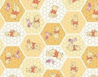 Winnie the Pooh Tea Time color: Chamomile  print -   cotton fitted crib/toddler sheet