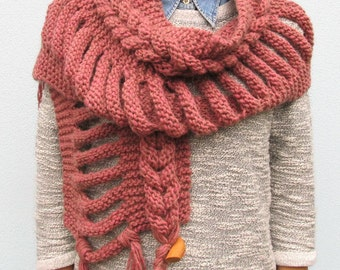 Scarf Cowl Handmade Knit Accessories Winter Wool Scarf Girl Woman Gift For Her Under 75 USD OOAK Scarves