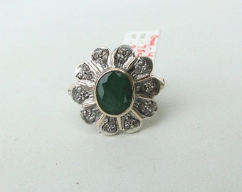Victorian Diamond 14 K Gold,Sterling Silver Emerald & Diamond Ring