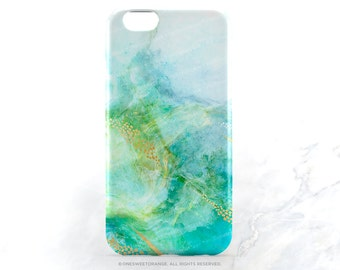 iPhone 7 Case Teal Marble Faux Gold Print iPhone 7 Plus iPhone 6s Case iPhone SE Case iPhone 6 Case iPhone 5S Case Galaxy S7 Case T174