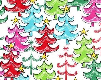 Christmas Fabric - Red, Aqua, Fuchsia, and Green Christmas Trees - Cotton Fabric Yardage - Choose Fat Quarter, Half Yard or By The Yard
