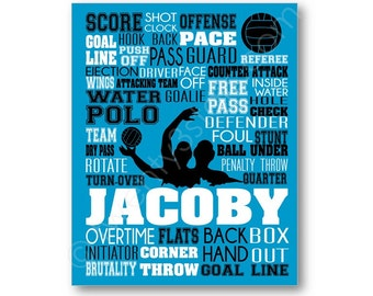 Water Polo Typography Canvas or Art Print, Boy's Room Art, Choose Any Colors, Gift for Water Polo Player, Custom Polo Team or Coach Gift