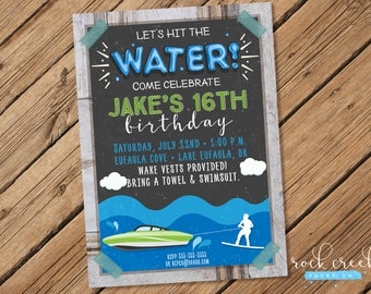 Wakeboarding Invitation, Water Ski Invitation, Wakeboard Party, Water Ski Party, Printable Birthday Party Invitation