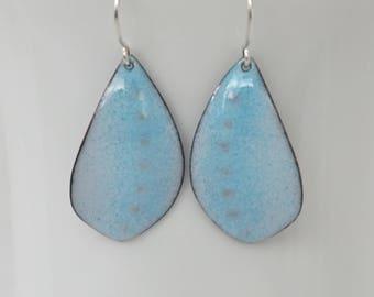 Light Blue Enamel Leaf Shaped Earrings - Enamel Jewelry - Aqua Blue