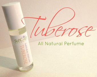 Tuberose Perfume - Natural Roll On Perfume Oil -  Organic Fragrance Perfume  - Vegan Perfume - Tuberose Fragrance .3 oz Glass Roll On