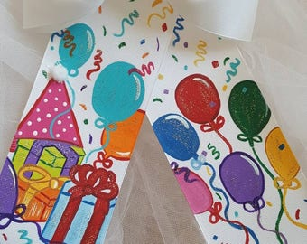 Boutique Happy Birthday To You Handpainted Hairbow