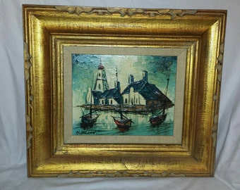 Vintage Oil Painting Signed H. Vallon, French Gold Frame