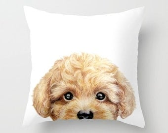 Toy Poodle Blonde beige, Pillow cover Original painting print on BOTH Sides