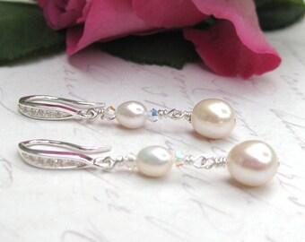 Bridal Earrings,  Freshwater Pearl Earrings, Long Drop Earrings, Wedding jewellery, Bridal Jewelry, Swarovski crystal  drops