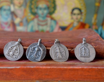 Goddess charm old Indian silver stamped discs tribal woman vintage amulet, herbalism, birth female blessing ethnic Hindu