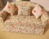 dolls house sofa  shabby chic style. 12th scale dollhouse  furniture