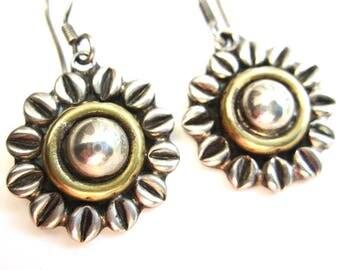vintage Mexican silver earrings sun daisy