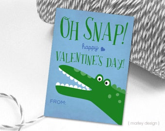 Oh Snap Valentines Cards Kids Valentines Crocodile Alligator Boys Valentines Valentine's Card Valentine's Day Classroom Valentines Printable