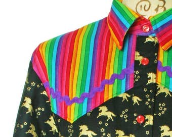 Bespoke Unicorns and rainbows western shirt
