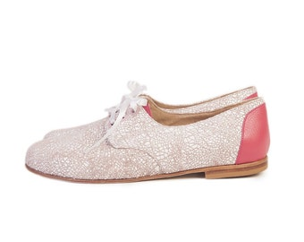 Oxford Crash- Leather flats - Woman flat shoes in light brown and pink - Handmade by Quiero June - Free Shipping