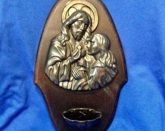 Antique Holy Water Font, European, Stoup Font, Wooden, Metal Plaque of Christ.