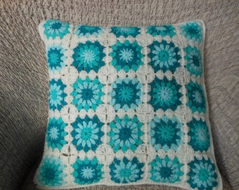 Crochet Pillow, Granny Square Cover Pillow, Decorative Pillow, White Mint Turquoise Handmade Home Decor 16x16