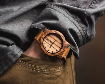 Wood Watch, Leather Strap Men's Wood Watch, Brown Leather Strap Wood Watch For Men - BRLY-Z