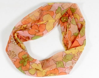 60s Infinity Scarf - Flower Circle Scarf Headband Boho Hippie Flower Power Mod