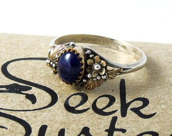 Vintage Virginia C Sterling Silver Ring, Sterling 1/20th 12K GF Flower Ring, Blue Stone Ring, Size U, Size 10.25