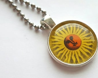 Sun Silver Tray Necklace with Stainless Steel Ball Chain - nature