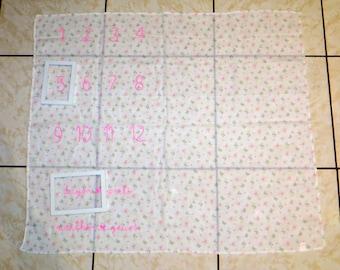 Baby Milestone Blanket (Girly Print/Pink Glitter)