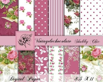 ON SALE Digital Fuchsia Paper, Digital Floral Pink and Fuchsia Paper, Pink Floral Digital Paper, Shabby Pink Paper, Card Making. No.101