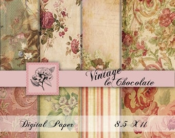 ON SALE Digital Paper, Shabby Rose Digital Paper, Digital Paper, Shabby Chic Pink Digital Paper, Old Shabby Paper. No. 637