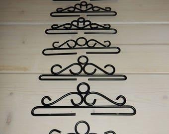 Set of 8 swedish metal hangers for wall hangings /black  /retro