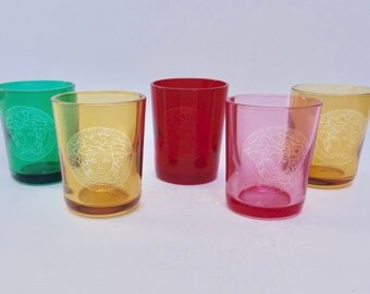 Set of 5 Versace & Rosenthal Colored Candle Holders with Medusa, Shot Glasses