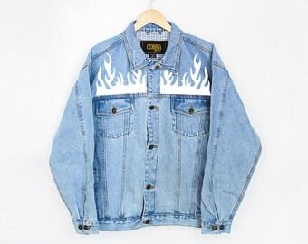 Flames Denim Jacket - Denim Coat - Jean Jacket - Vintage Jacket - Denim Jacket - Denim Coat  - Thrasher - Outerwear - Women's Jacket