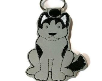 Husky Key Fob, Husky Key Chain, embroidered key chain, dog mom gift, dog dad gift, stocking stuffer