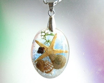 Sea Shell Starfish Beach Ocean Seascape Jewelry Resin Pendant Necklace