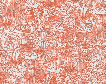 Cotton Lawn Green Wall in Flame by Carolyn Friedlander Fabric Cotton Lawn Fabric Robert Kaufman Voile Red Lawn Apparel Fabric