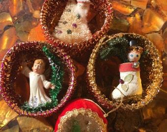 Four Vintage Handmade Christmas Ornaments