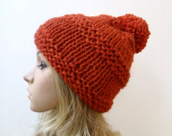 Sale! Super Chunky Pom Pom Hat - Wool Alpaca Pom Pom Hat - Women Knit Hat - Hand Knitted Rust Wool Alpaca Bobble Hat - Clickclackknits