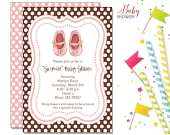 Baby Shoes Invitation | Baby Shower | Printable Digital File | BSI195DIY