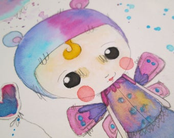 Mixed Media Watercolor Bear Fairy Girl by Ceville Designs