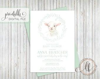 Little Lamb Baby Shower Invitation, Sheep Invitation, Sweet Baby Lamb Shower Invitation- Printable, 5x7
