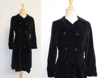 RESERVED - 1970s Vintage - Vintage Coat - Black Velvet Trench Coat - Bust 86-91 cm